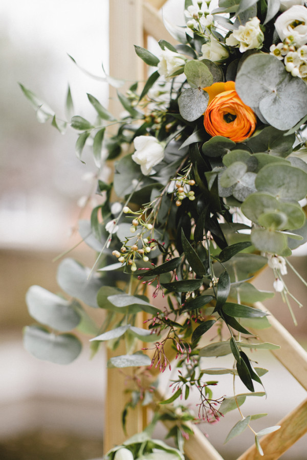 eucalyptus little white flowers orange flower buttercup wedding flower