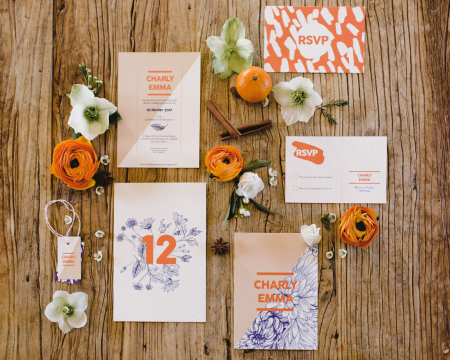 modern wedding stationery blue orange